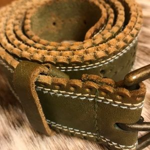 44 inches Olive Green Genuine Leather Belt